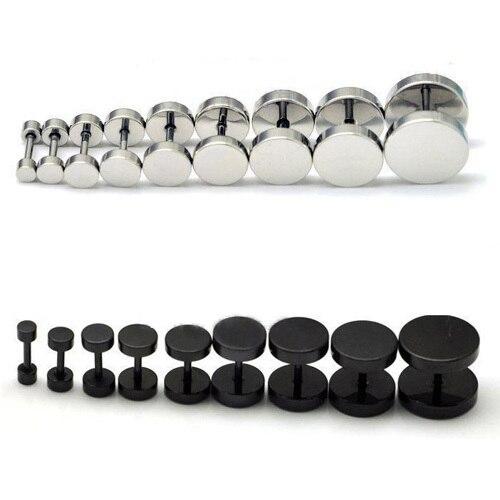 1 шт., мужские и женские серьги-гвоздики в стиле панк, готика, нержавеющая сталь, серьги-гвоздики, черный цвет