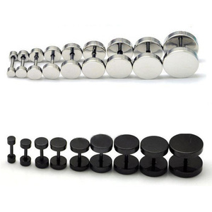 1PC Man Women Barbell Punk Gothic Stainless Steel Ear Studs Earrings Black Siver(China)