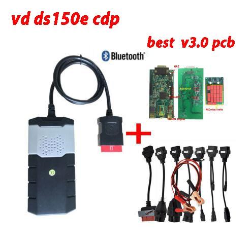 2019 obd2 meilleur V3.0 PCB VD DS150E CDP 2016. R0 keygen comme wow outil de diagnostic avec bluetooth 8 pièces voiture câbles pour delphis autocome