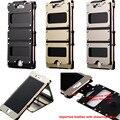 ARMOR KING Man Ударопрочного Металлического Алюминия Case Корпус Из Нержавеющей Стали и рама + Автомобильной Кожаный Чехол Для iPhone 7 7 плюс