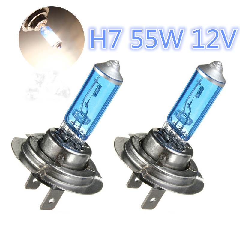 2pcs/Set H7 55W 12V Auto Halogen Front Headlights Head Lamp Car Fog Lights Parking Bulb Lamp Super Xenon White 6300K Car Styling e support 2 pcs h7 80w cree super bright xenon white led car auto fog lights rear lights headlights lamp bulb xy01