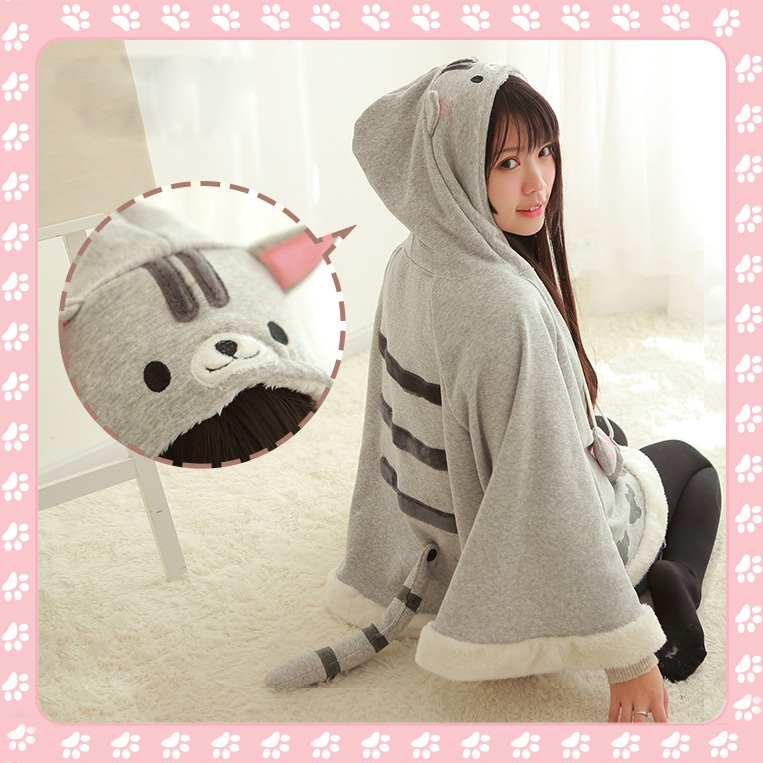 Women Girl Cartoon Japan Game Neko Atsum Cute Cat Face Hooded Cloak Office Home Wear Blanket Tracksuit Christmas Birthday gift