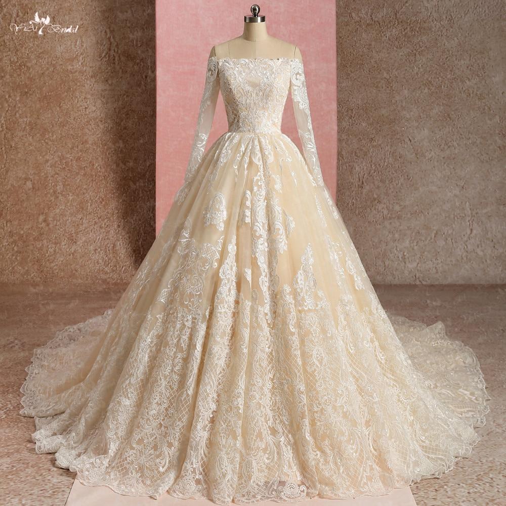 LZ270 Golden Color Lace Wedding Dress Vestido De Noiva Off The Shoulder Bridal Dresses 2019 Robe