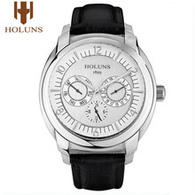 HOLUNS Luxury Men Watch Quartz Wrist Watches Male Sport Bussiness Military Leather Stainless Waterproof Relogio Masculino