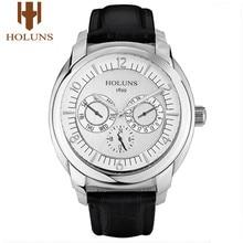 HOLUNS Luxury Men นาฬิกาควอตซ์นาฬิกาข้อมือชายกีฬาธุรกิจทหารหนังสแตนเลสกันน้ำ Relogio Masculino