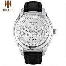 HOLUNS 高級男性はクォーツ腕時計男性スポーツ商務軍事革ステンレス防水レロジオ Masculino