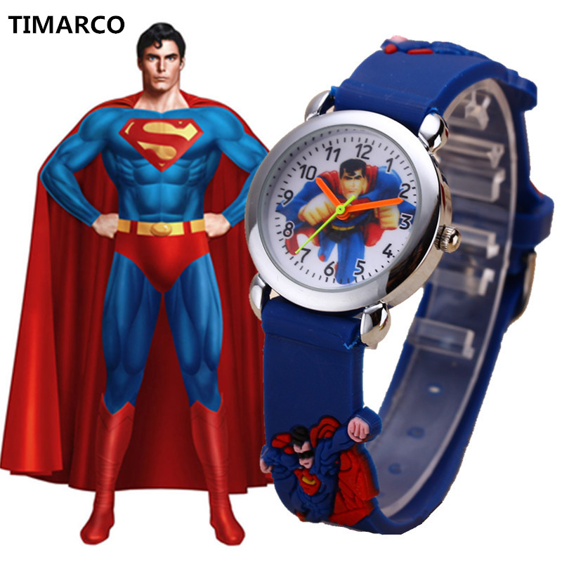 2019 Top Brand Cute Superman Cartoon Silicone Kids Sport Watch Clock Wristwatches Silicone Girls Boys Children Watches Gift