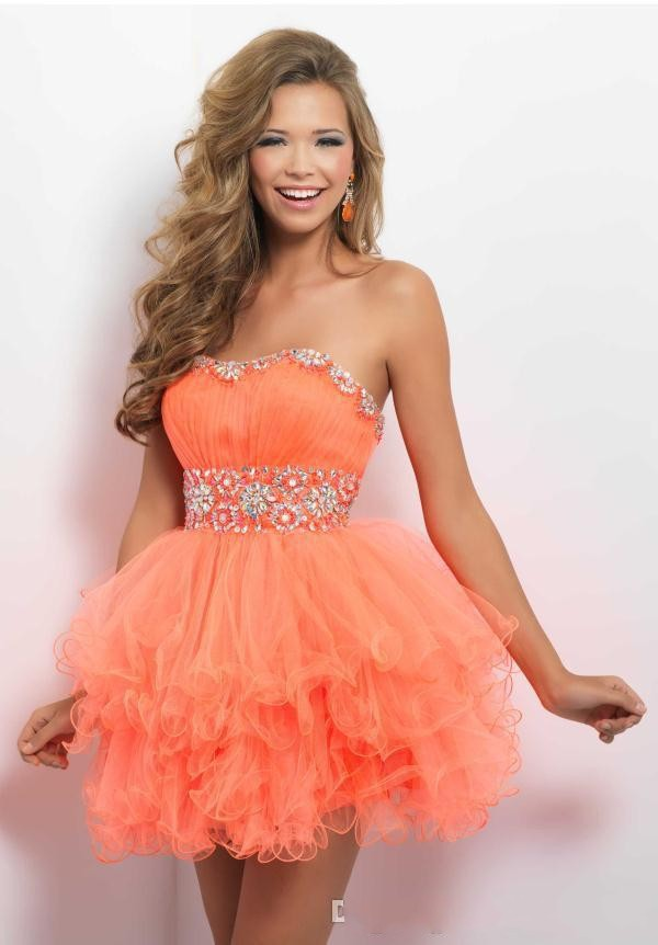 2015 Lovely Crystal Sweetheart Strapless Orange Mini Short ...