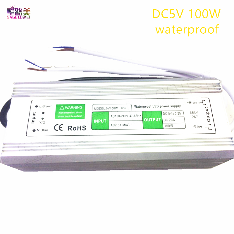 5V 20A waterproof IP67 Switching power supply 100W Driver Adapter Transformer 100-240V AC Power for Led Strip Display lamp led driver transformer waterproof switching power supply adapter ac170 260v to dc48v 200w waterproof outdoor ip67 led strip