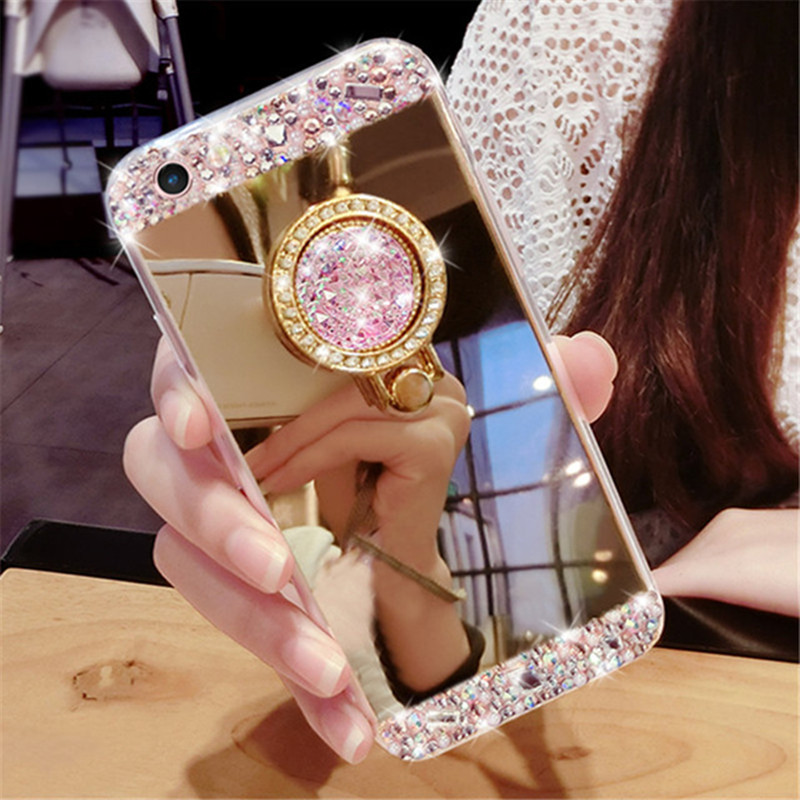 Rhinestone Case Mirror Mate Smart-Phone-Cover P9-Lite Huawei Honor Y7 Prime Mini P30