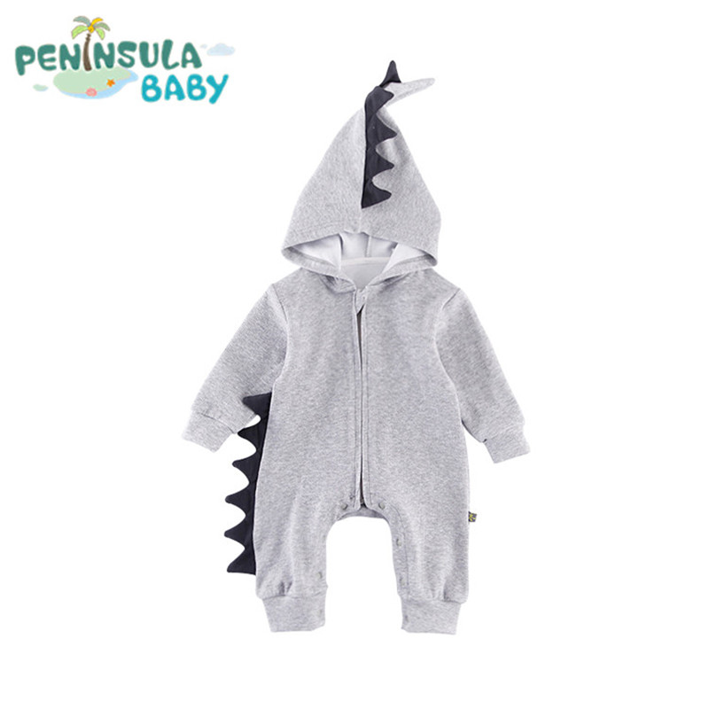 Cartoon Dinosaurs Hooded Baby Rompers Newborn Boys Girls Cotton Long Sleeve 3D Jumpsuits Outerwear Kids Costume With Zipper hot new autumn fashion baby rompers cotton kids boys clothes long sleeve children girls jumpsuits newborn bebes roupas 0 2 years