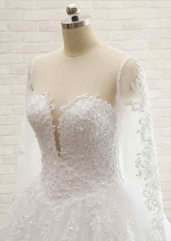 ייחודי חדש שמלות כלה אלגנטית 2017 O-צוואר ארוך שרוולי רכבת קפלת כדור שמלת תחרת חתונת כותנות Robe de mariage