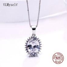 Женское ожерелье из серебра 925 пробы с кулоном овальной огранкой