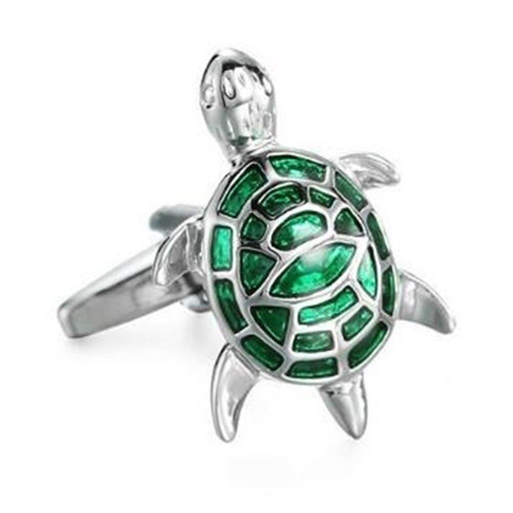 Cufflinks Sleeve-Button Turtle-Suit Shirt Jewelry-Links Green Women Cartoon Alloy