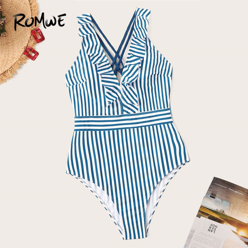 Romwe Swimwear Monokini 1piece Bathing-Suit Ruffle Sport V-Neck Summer Criss-Cross Women