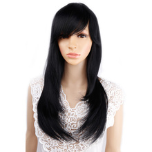 "Amir 18"" Ombre Straight Synthetic Wigs For African American Women Long Black Mixed Brown Two Tone Wigs With Bangs"