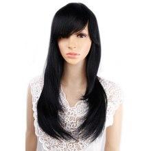 """Amir 18 """"Ombre düz sentetik peruk afro amerikan kadınlar için uzun siyah karışık kahverengi iki ton peruk patlama ile"""