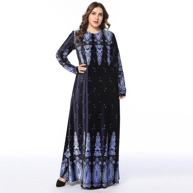 Winter Muslim Abaya Velvet Dress Arabic Abayas Maxi Dress Print bronzing  Pakistani Dubai Islamic Warm Dresses Navy Blue vestido f32cb8e46c26