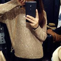 Cakucool Hot Gold Lurex Knit Tops Women Sequined Sweaters Long Sleeve Big O Neck Casual Loose