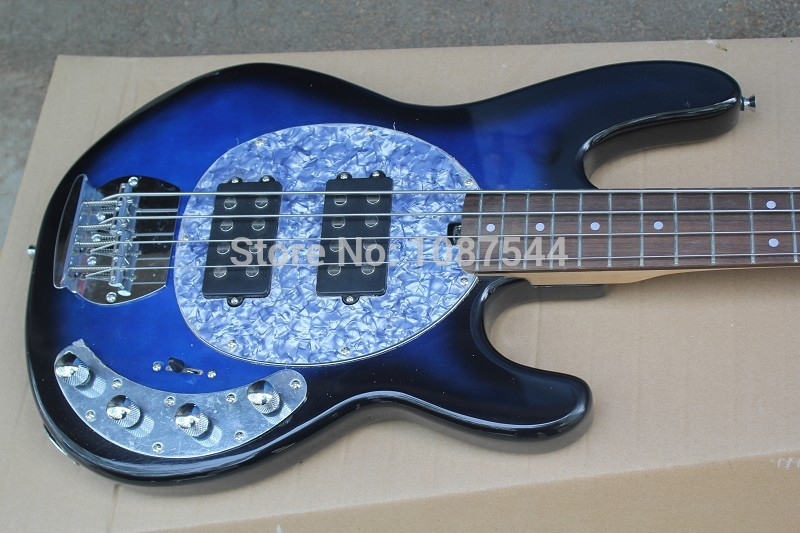factory wholesale music man stingray 4 strings blue bass guitar with 9v battery active pickups. Black Bedroom Furniture Sets. Home Design Ideas