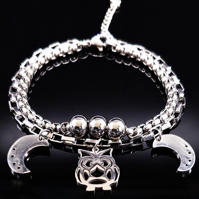 2018 Mignon En Acier Inoxydable Bracelets & Bangles Femmes Double Argent Couleur Lune et Hibou Bracelet Bijoux acero inoxidable B61469