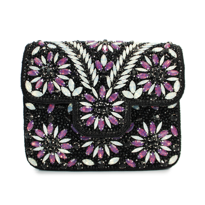 New 2017 purple pearls evening bags white black beaded clutch bag wedding bridal clutches party dinner purse chain handbag(C044)