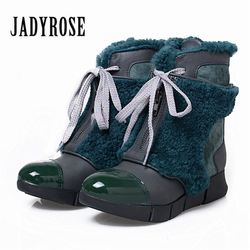 Jady Rose Female Winter Snow Boots Fashion Genuine Leather Fur Patchwork Ankle Boots for Women Lace Up Platform Wedge Boots 2017 new fashion genuine leather snow boots female winter platform ankle boots women zipper lace up boots