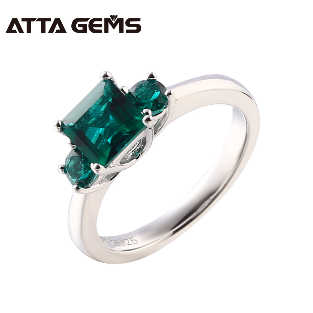 Emerald Sterling Silver Rings For Men And Women Silver Rings 2.5 Carats Emerald Wedding Silver Jewelry For Women Unisex Rings semipotent rings and modules