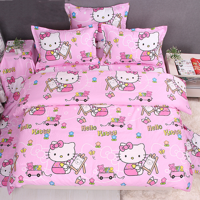 Hello Kitty Bedding Set,Hello Kitty Bed In A Bag,Pink Bedding Sets,Twin Queen King,4Pcs
