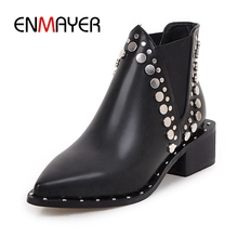 ENMAYER New Fashion women solid pointed toe rivet square heel ankle boots lady slip-on  Big size 34-43 ZYL652