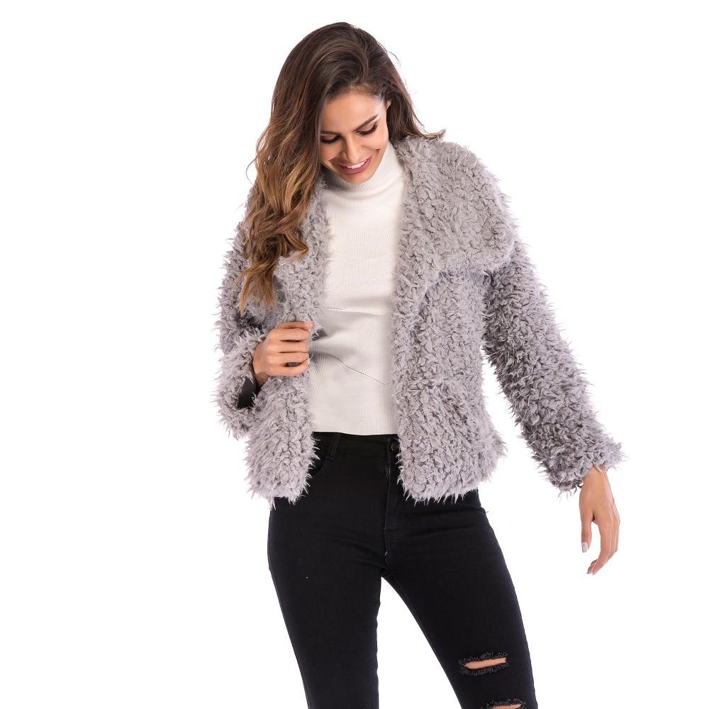 Mode Veste Poilu Hiver Unique Black gris Ladyies pink Femmes Grande Taille Mince Courte Chaude 2019 Outwears Poitrine De Manteaux AvwW4Fq