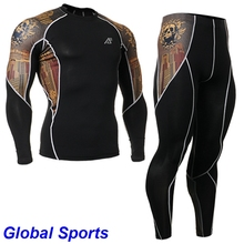 2017 men's clothing sets cycling baselayer tattoo long sleeve tops+sports pants brown skulls painted sets male cycling apparel
