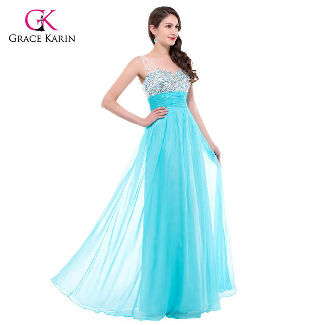 placeholder Grace Karin Sexy Backless Evening Dresses 2018 Women long White  Formal Dress Party Gowns Rhinestones Blue 562c733f348f