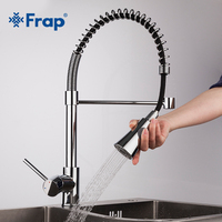 Frap Brass Brushed Nickel Pull Out Rotary Kitchen Faucet Mixer Tap for Sink Single Handle Deck Mounted Hot And Cold Water f4452