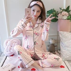 Image 2 - Maternity Pajamas 2019 new Spring Long Sleeve Breastfeeding Sleepwear Cotton Nursing Clothes For Pregnant Women Outerwear