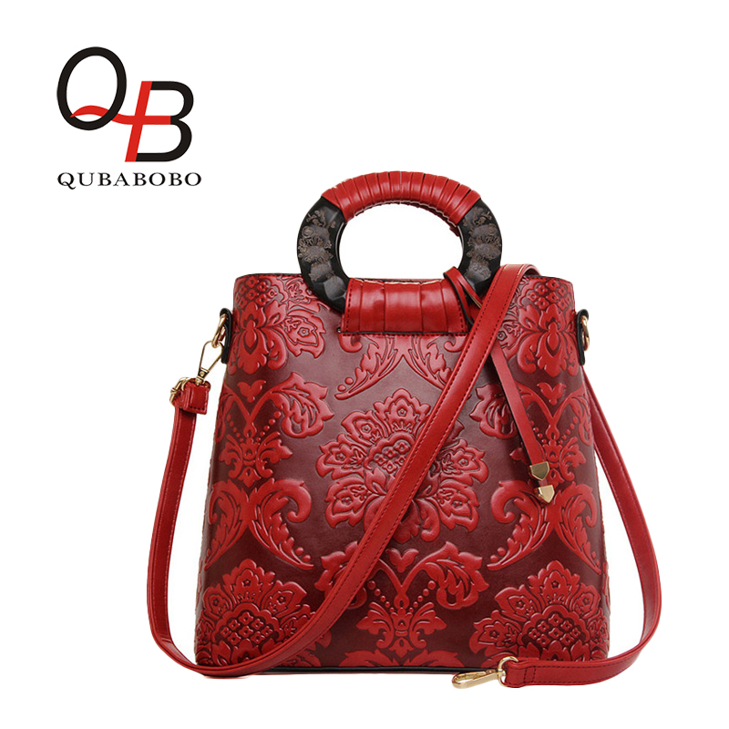 ФОТО QUBABOBO Fashion Embossed Leather Women Handbag PU Leather Chinese Style Handbag Vintage Shoulder Bag Quality Leather Ladies Bag
