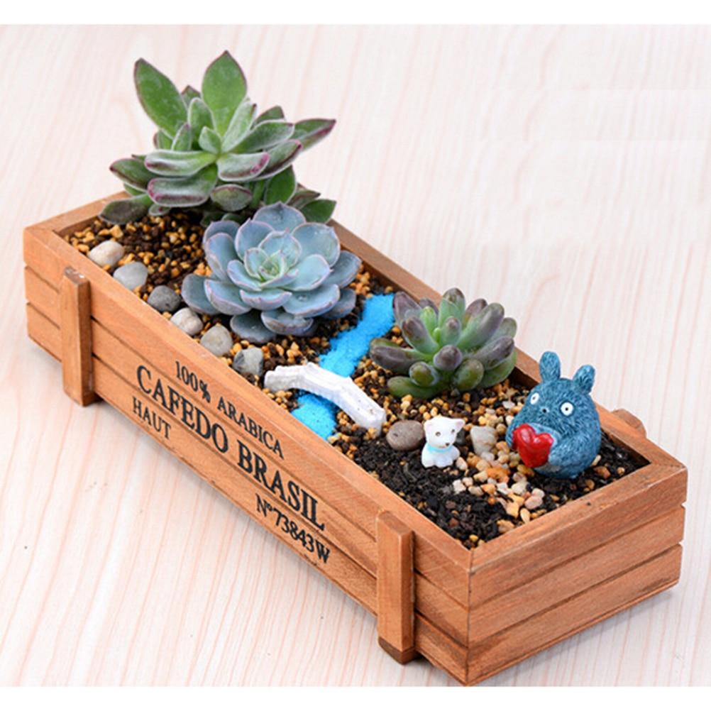 Pot Plante En Bois €0.87 73% de réduction naturel en bois plantes succulentes lit de fleurs  pot boîte jardin planteur plantes succulentes pots 1 pièces 22.5*8*5 cm-in