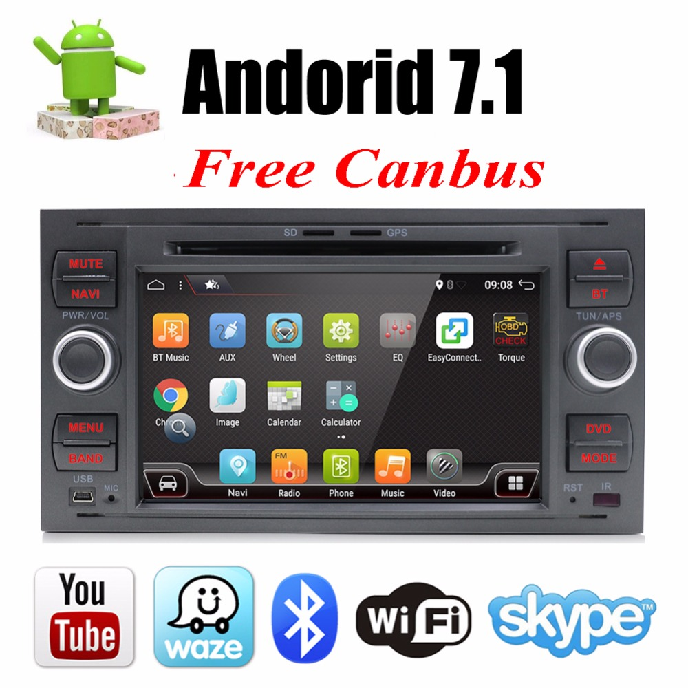 Bosion Voiture Lecteur Multimédia Android 7.1.1 GPS Autoradio 2 Din 7 pouce Pour Ford/Mondeo/Focus/Transit /C-MAX/S-MAX/Fiesta 2 gb RAM