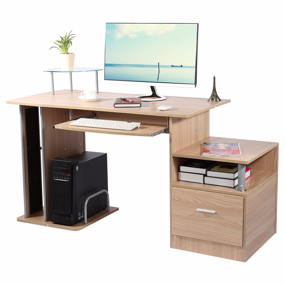 TV Computer Modern Home Office desk table office workstation study writing PC furniture drawers With Storage Rack ...