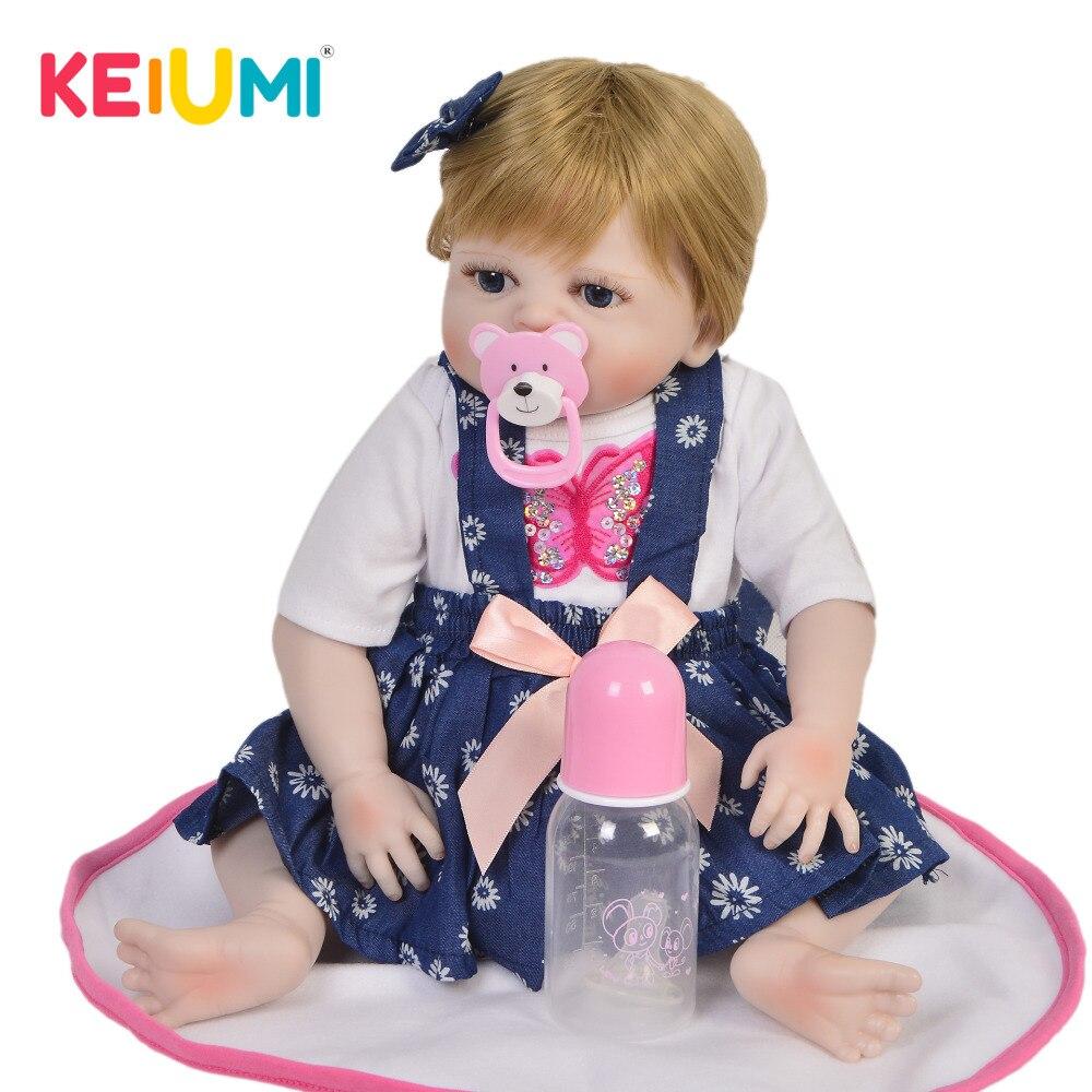 KEIUMI Vendita Calda Reborn Baby Doll Giocattolo Realistici Pieni di Silicone Del Corpo Parrucca di Capelli Cute Baby Reborn Bambole Per I Bambini Regalo Di Compleanno best Compagno di Giochi-in Bambole da Giocattoli e hobby su  Gruppo 1