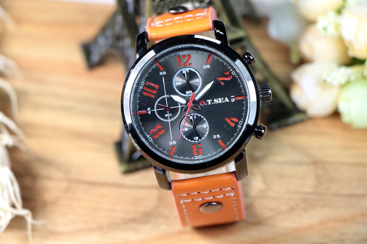 Watch Military Style with Leather Strap Orange
