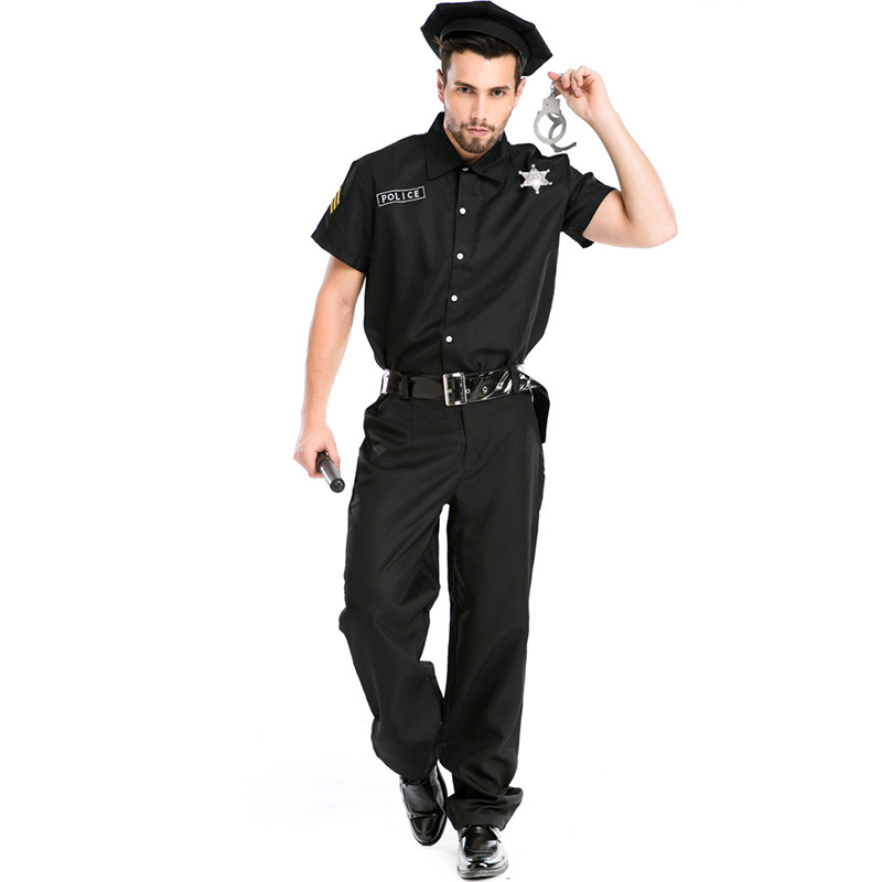 New Men's Nightclub Uniform Police USA Sergeant Halloween COS Suit Stage Performance Cosplay Costume L1872769