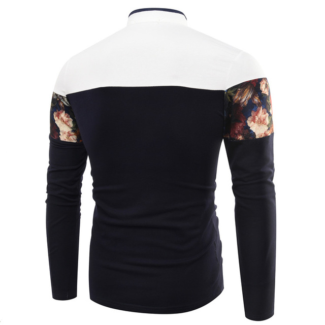 New Fashion Floral Print Long Sleeve Men Camisa Polo Men Cotton Casual Breathable Fitness Boss mens polo shirt brands 3 Colors
