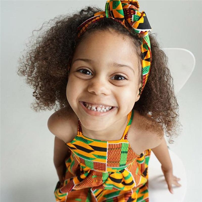 Toddler Baby Girls African Print Off Shoulder Hair Band Princess Casual Dress vestido robe fille  #4j12 (14)