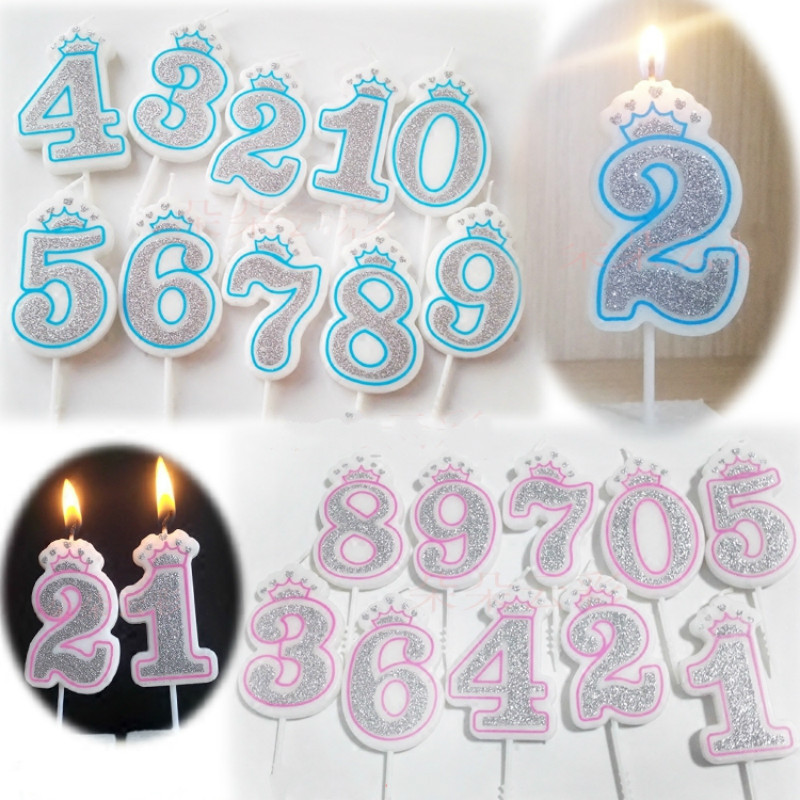 1PC Number Birthday Candles 1 2 3 4 5 6 7 8 9 0 Gold Sliver