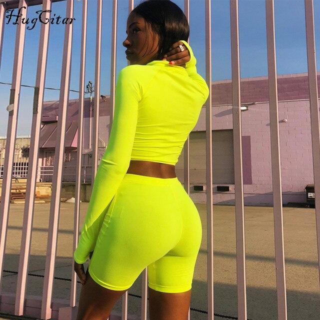 Hugcitar long sleeve high neck zipper letters print crop tops bodyocn shorts 2 pieces set 2018 autumn winter women fashion casua 3