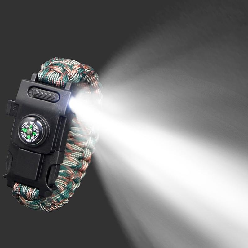 Multi-function Parachute Cord Survival Bracelet Paracord 4mm Bracelet Camping Rope Emergency Bracelet Led Lights