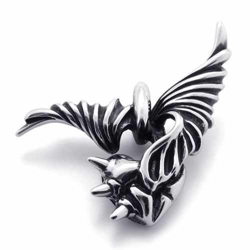 Joyería de moda de Acero Inoxidable 316L Collar de Plata Demonio Diablo Alas Del Corazón Collares pendientes 20547