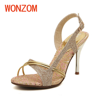 WONZOM Height Increasing Sandalias Mujer Summer New Women Sandals Fashion Sexy Bling High Heel Shoes For