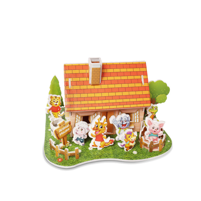 Бумага паззлами раннего обучения Строительная сборка детей украшения дома английские детские игры раннее образование игрушки - Цвет: YJL80928765E
